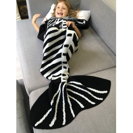 super soft knitted fishbone kids wrap halloween mermaid blanket and throws black and white