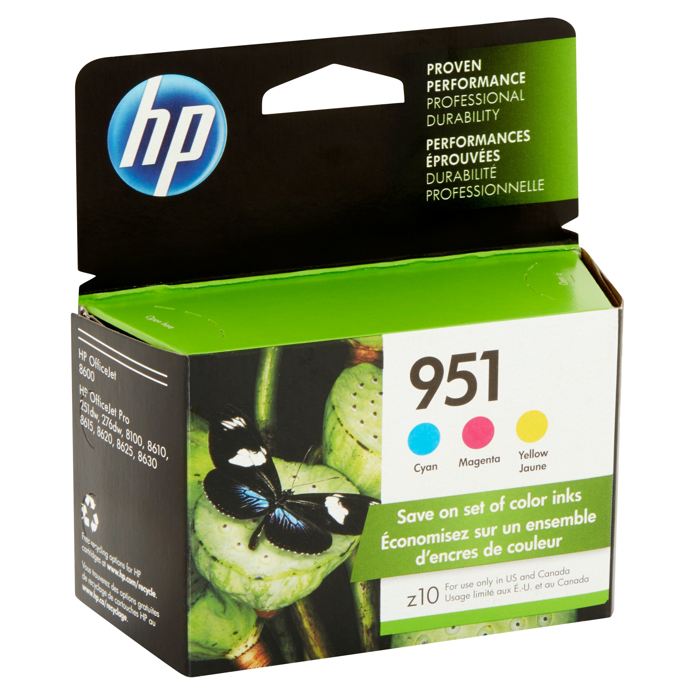 HP 951 Cyan, Magenta & Yellow ink cartridges, 3-pack (CR314FN) by HP