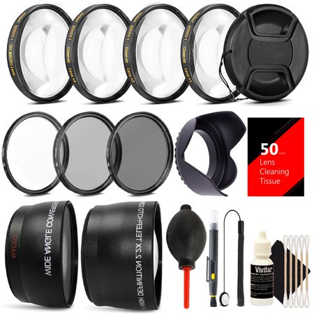 58MM Professional Lens Filter Accessory Kit for CANON EOS Rebel T6i T6 T5i T5 T4i T3i SL1