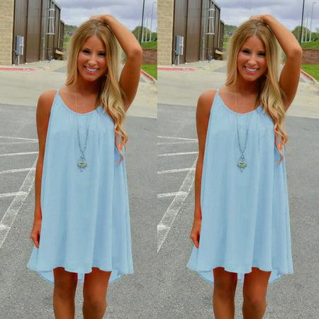 Women Spaghetti Strap Back Howllow Out Summer Chiffon Beach Short Dress Blue/L