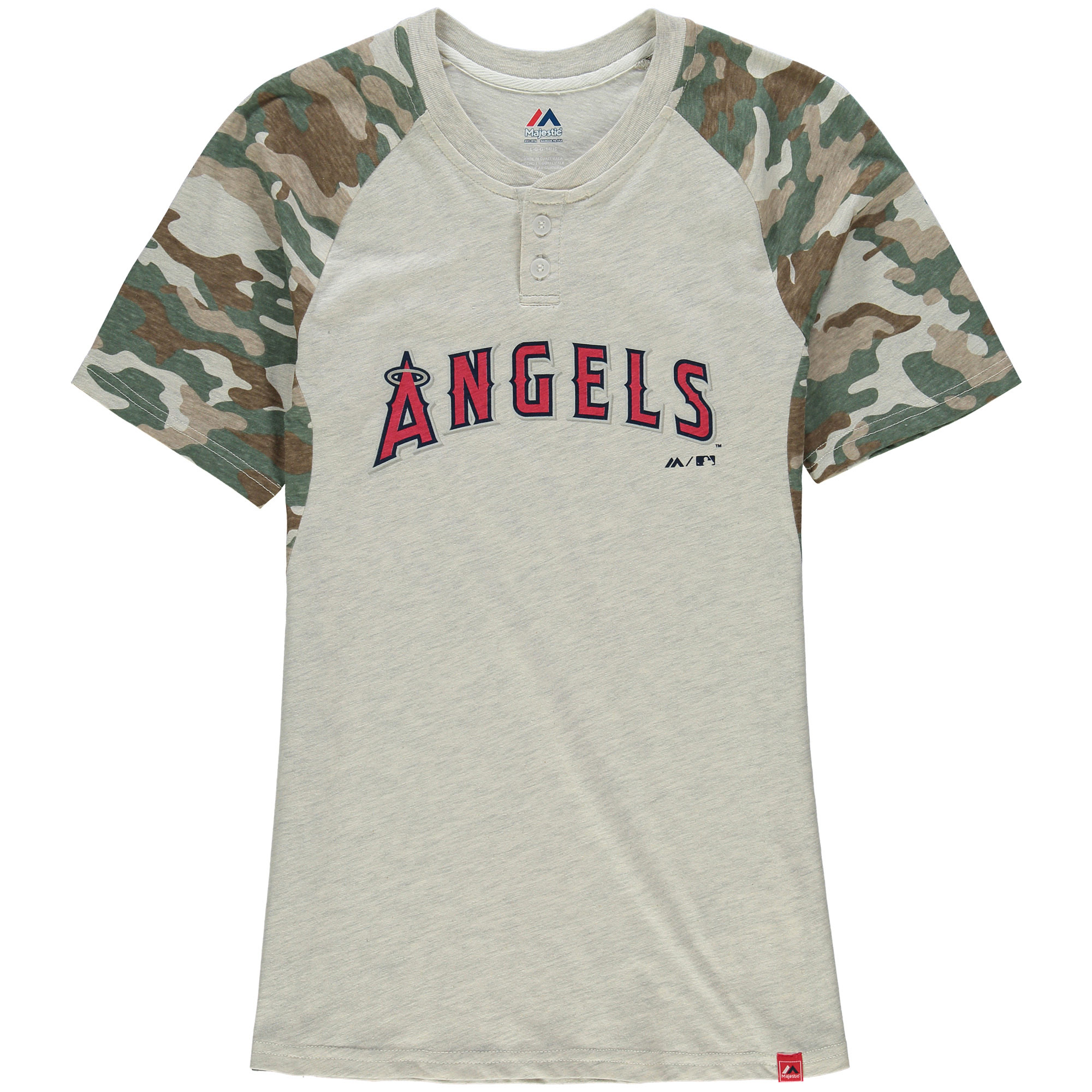 Youth Majestic Cream/Camo Los Angeles Angels Base Stealer Henley T-Shirt