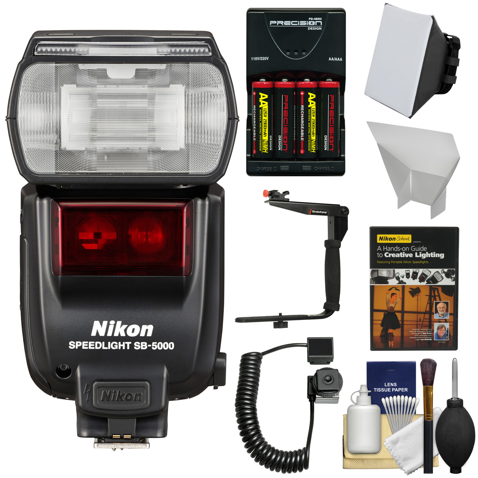 Nikon SB-5000 AF Speedlight Flash with Bracket & Cord + with Softbox + Diffuser + Batteries & Charger + Kit
