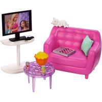 Barbie Indoor Furniture Living Room Set with Kitten