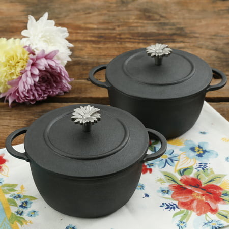 The Pioneer Woman Timeless Beauty Mini Preseason Plus Cast Iron Dutch Ovens, Set of (The Pioneer Woman Cast Iron Dutch Oven)