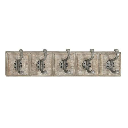 Rectangular Wood Wall (Decmode Traditional 5 Fixed Wood And Metal Rectangular Whitewashed Wall Hooks, Gray)