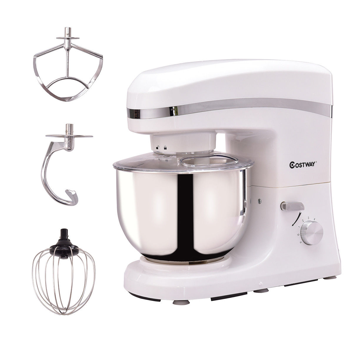 5L 120V/800W 6 Speed Electric Food Stand Mixer Tilt-Head Stainless Steel Bowl WT - image 9 de 10