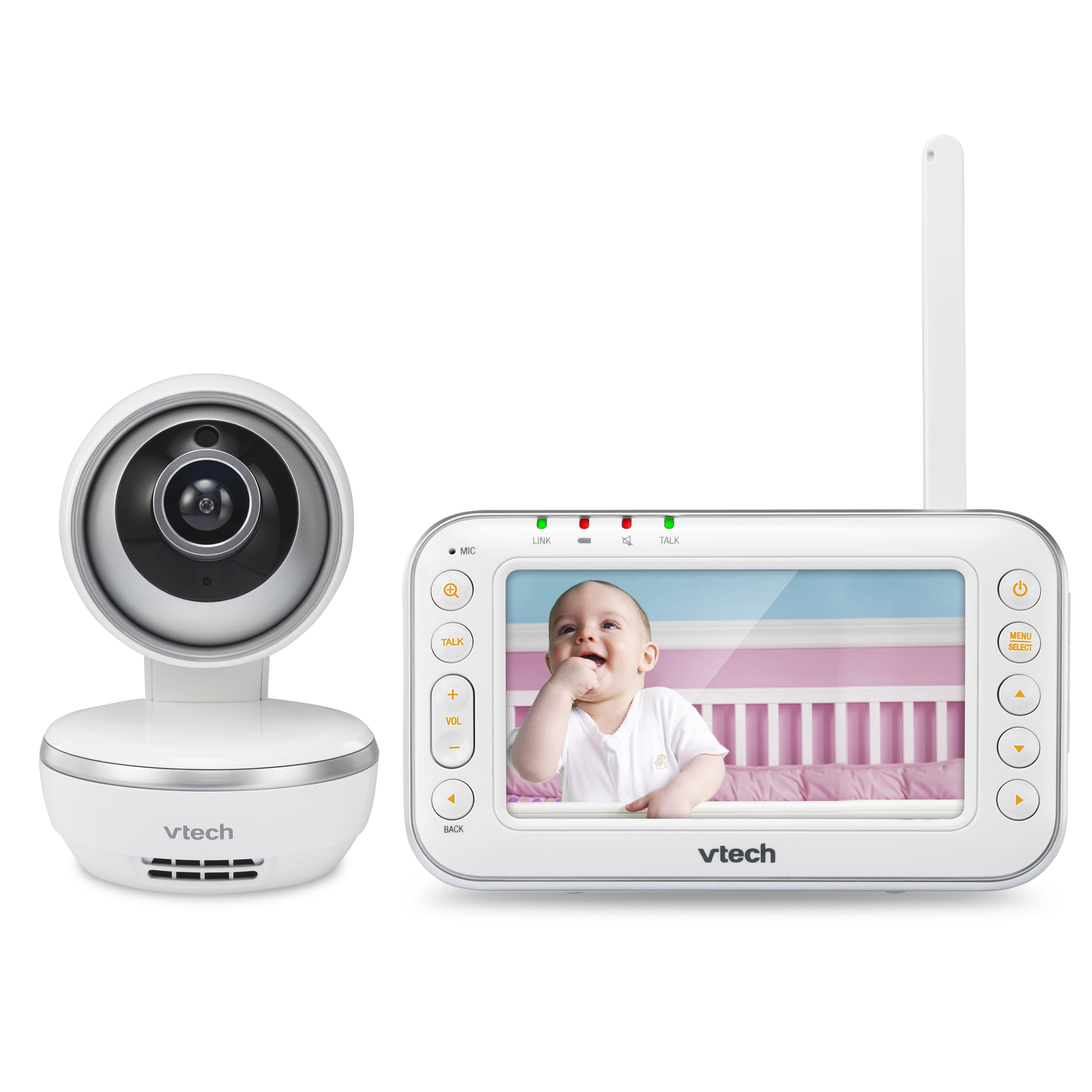 VTech VM4261 4.3� Digital Video Baby Monitor with Pan & Tilt Camera, Wide-Angle Lens and Standard Lens, White by VTech