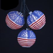 Set of 10 Red, White and Blue Chinese Lantern 4th of July  Flag Lights - Green Wire