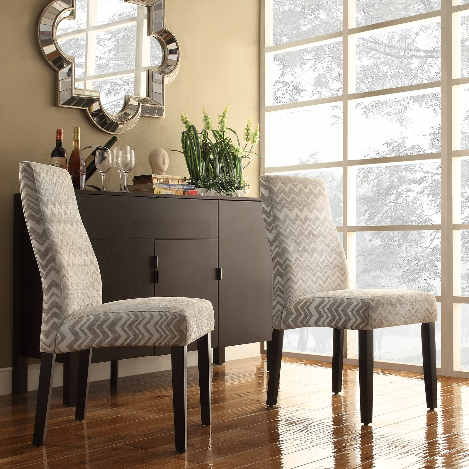 Inspire Q Eaton Wave Back Gray Chevron Print Fabric Parson Chairs - Set of 2