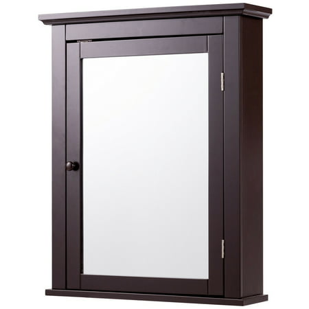 Gymax Bathroom Mirror Cabinet Wall Mounted Medicine Storage Adjule Shelf Brown