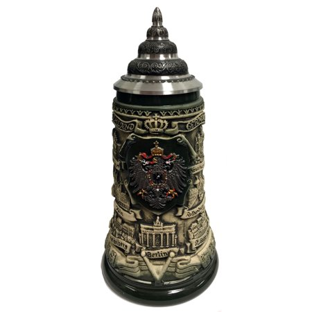 - Rustic German Cities with Pewter Eagle Gift Boxed LE Stoneware Beer Stein .4 L