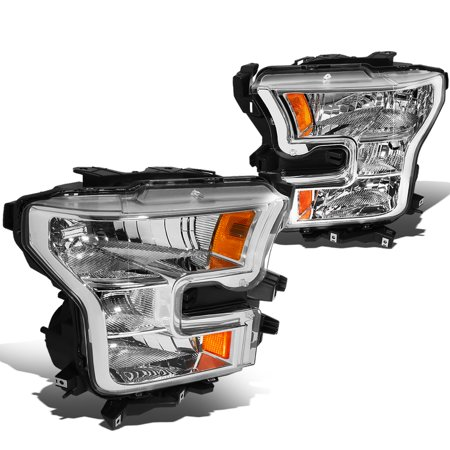 For 2015 to 2017 Ford F150 13th Gen OE Style Headlight Chrome Housing Amber Side Headlamp 16