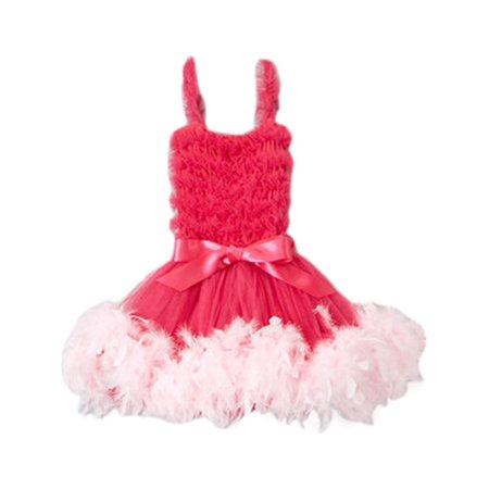 Girls Hot Pink Feathery Bow Accent Flower Girl Dress 12M-7 - Feathery Dresses