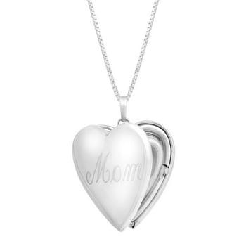 Finecraft Mom Heart Locket Pendant Sterling Silver