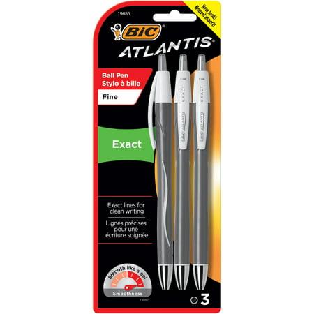BIC Atlantis Exact Retractable Ballpoint Pen, Fine Point (0.7 mm), Black, 3