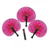 Fun Express Inc. 12 Pink Perfectly Paris Folding Fan Party Favors, Giveaways,Gift Bag, Hot Pink Paris Fan - A Trs Chic Party Favor