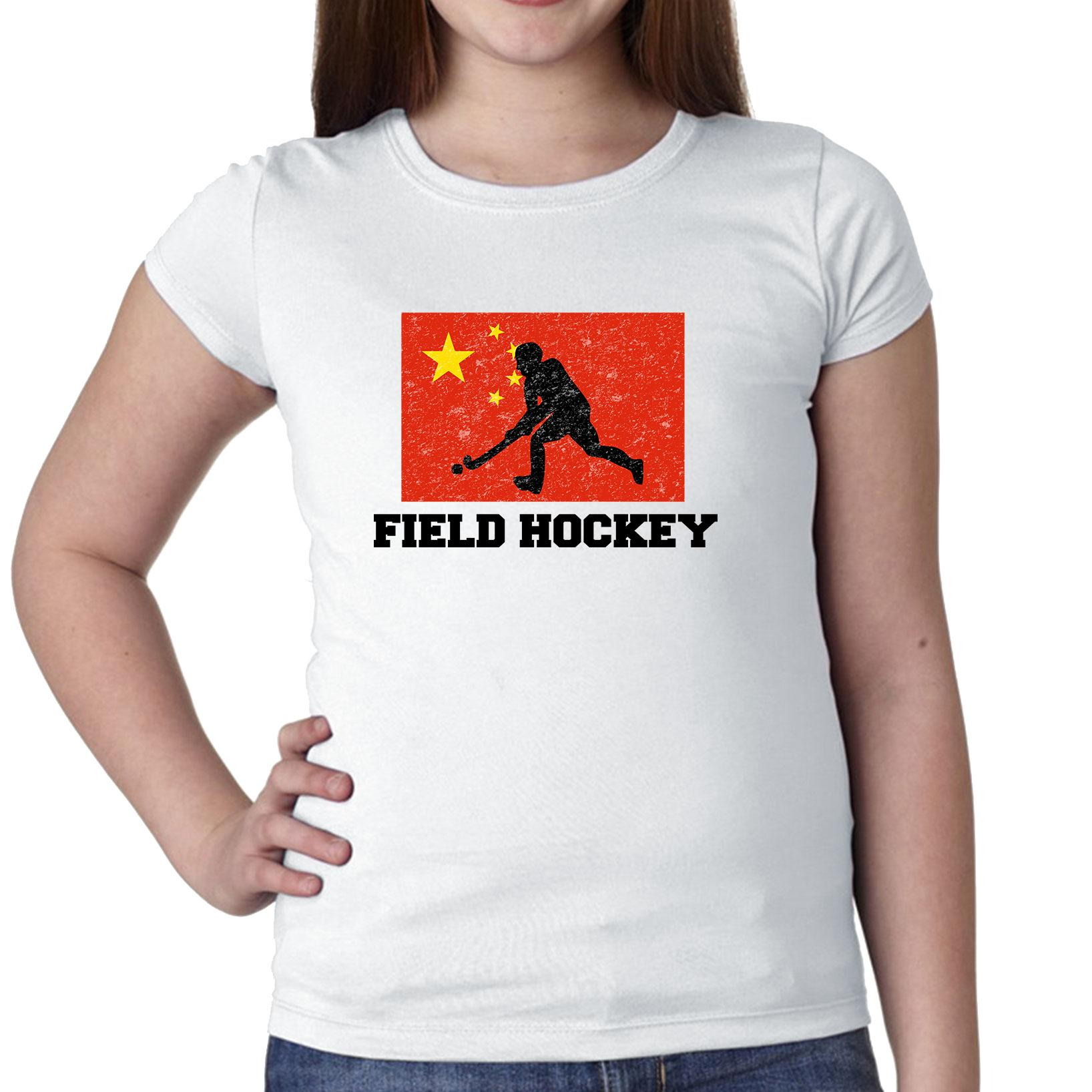 China Olympic Field Hockey Flag Silhouette Girl's Cotton Youth T-Shirt by Hollywood Thread