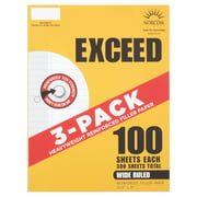 """Exceed Wide Ruled Reinforced Filler Paper, 100 Sheets, 3 Pack, 10.5"""" x 8"""""""