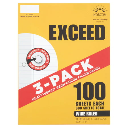 Norcom Exceed Wide Ruled Heavyweight Reinforced Filler Paper, 100 count, 3 pack