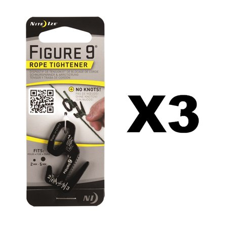 Figure 9 Rope Tightener Small Black Aluminum Tie Down Tool (3-Pack), Two attachment methods for ultimate versatility By Nite Ize