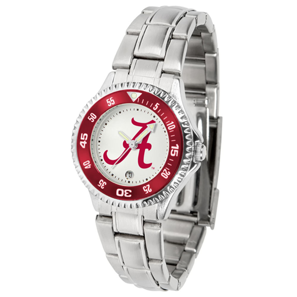 "Alabama Crimson Tide NCAA ""Competitor"" Women's Watch (Metal Band)"