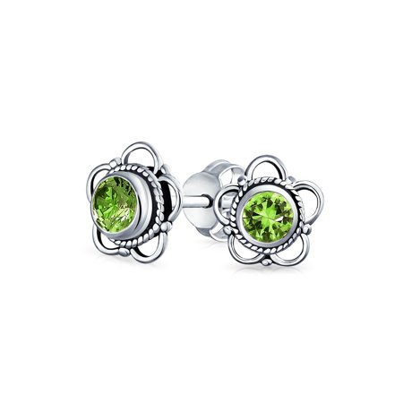 Bali Style Tiny Flower Gemstone Stud Earrings For Women for Teen Oxidized 925 Sterling Silver More Birthstone Colors