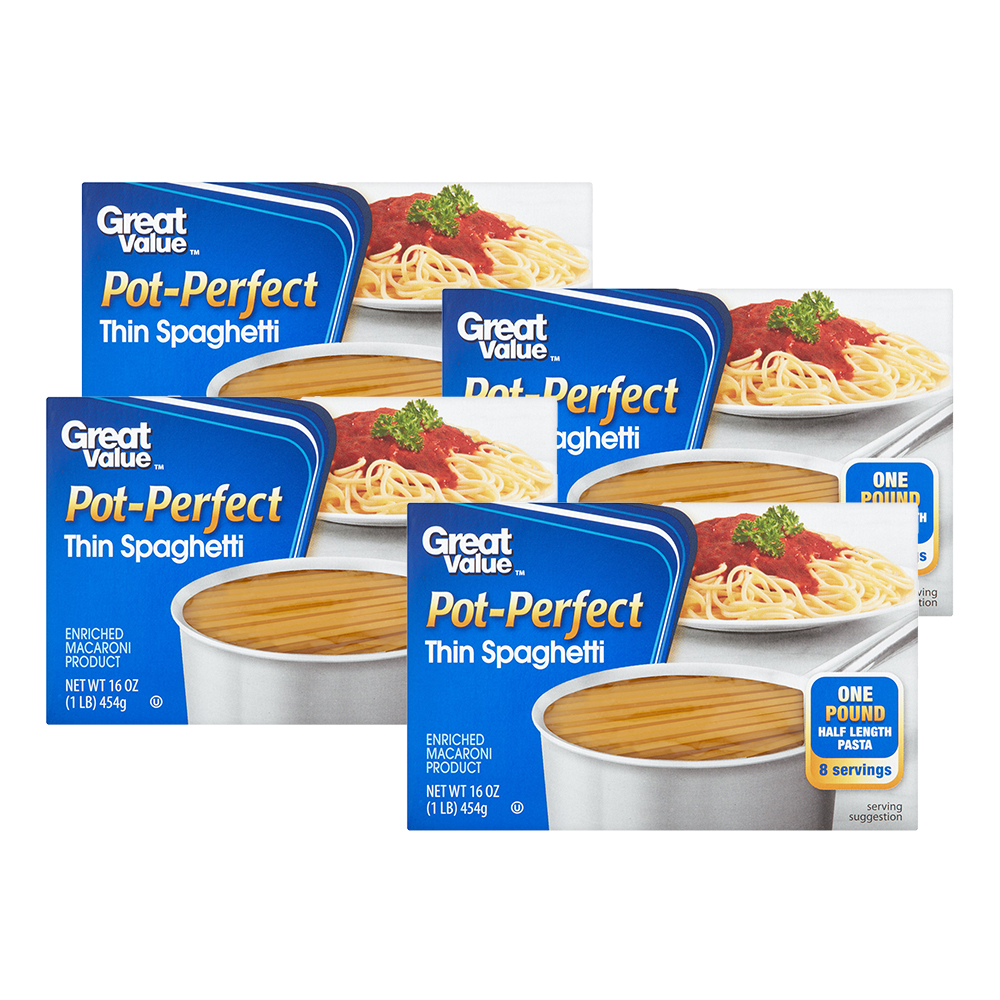 Great Value Pot-Perfect Thin Spaghetti, 16 oz (4 Packs)