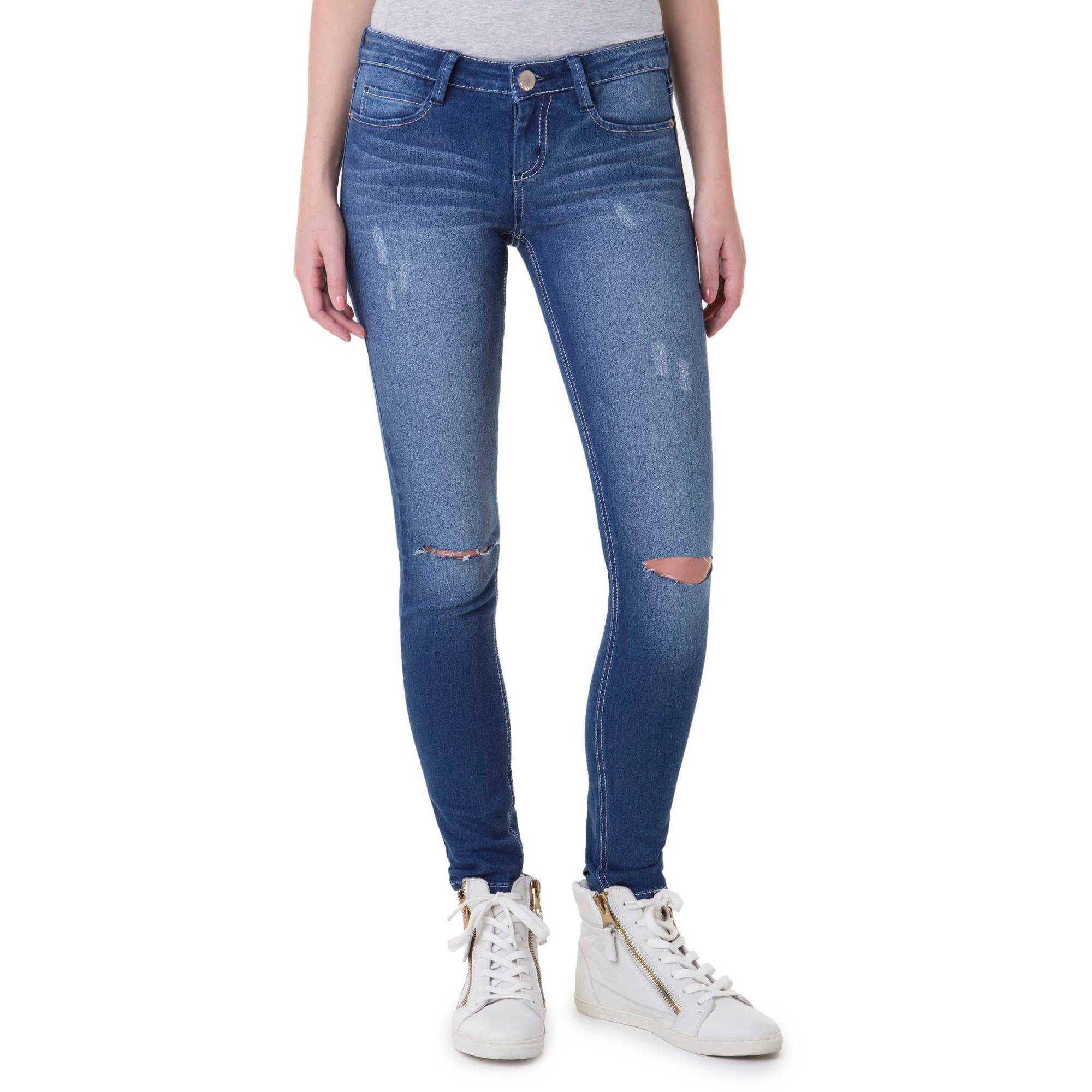 No Boundaries Juniors' Essential Skinny Jeans with Knee Slits