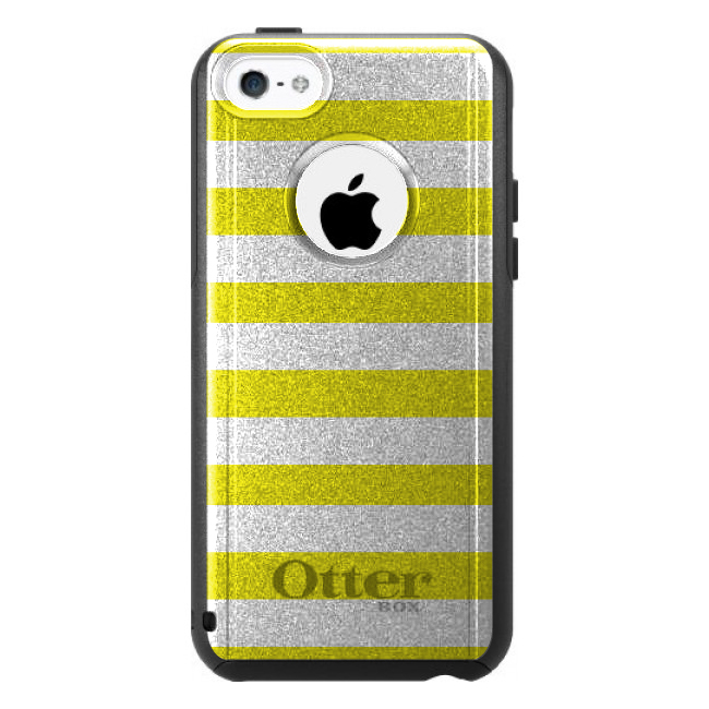 DistinctInk™ Custom Black OtterBox Commuter Series Case for Apple iPhone 5C - Yellow & White Bold Stripes