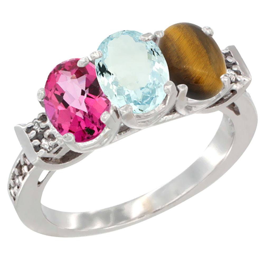 14K White Gold Natural Pink Topaz, Aquamarine & Tiger Eye Ring 3-Stone 7x5 mm Oval Diamond Accent, sizes 5 10 by WorldJewels