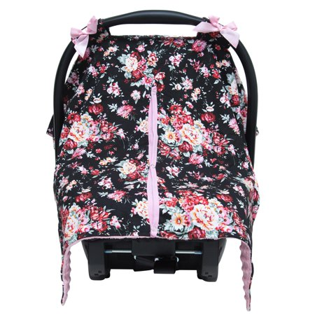 Black Pink Floral Minky Baby Car Seat Canopy Cover Walmartcom