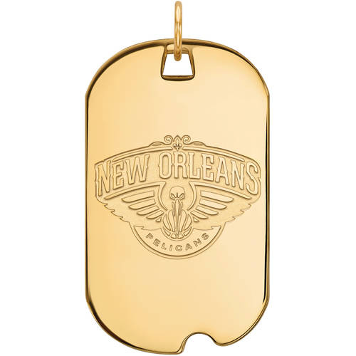 LogoArt NBA New Orleans Pelicans 10kt Yellow Gold Large Dog Tag