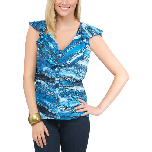 Miss Tina Women's Kerchief Smock Waist Blouse