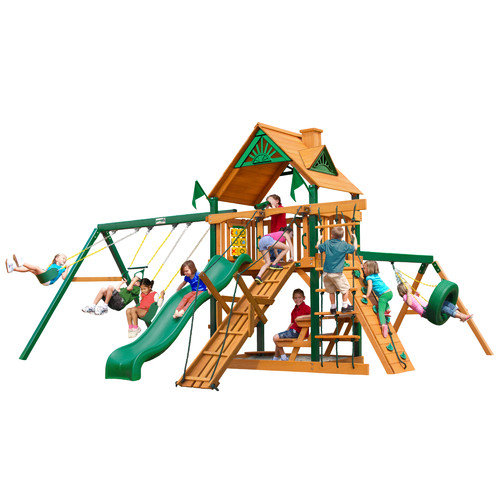 Gorilla Playsets Frontier Swing Set with Wood Roof Canopy