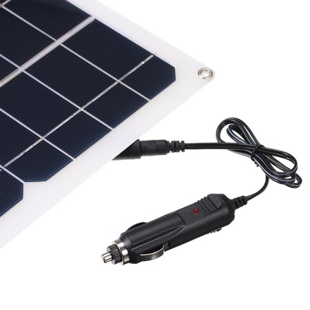 DC5V/DC12V 10W Dual Output Solar Power Energy Charging Panel with USB Interface Car Charger IP65 Water Resistance Portable Completed Accessories for Outdoor Camping Hiking Fishing