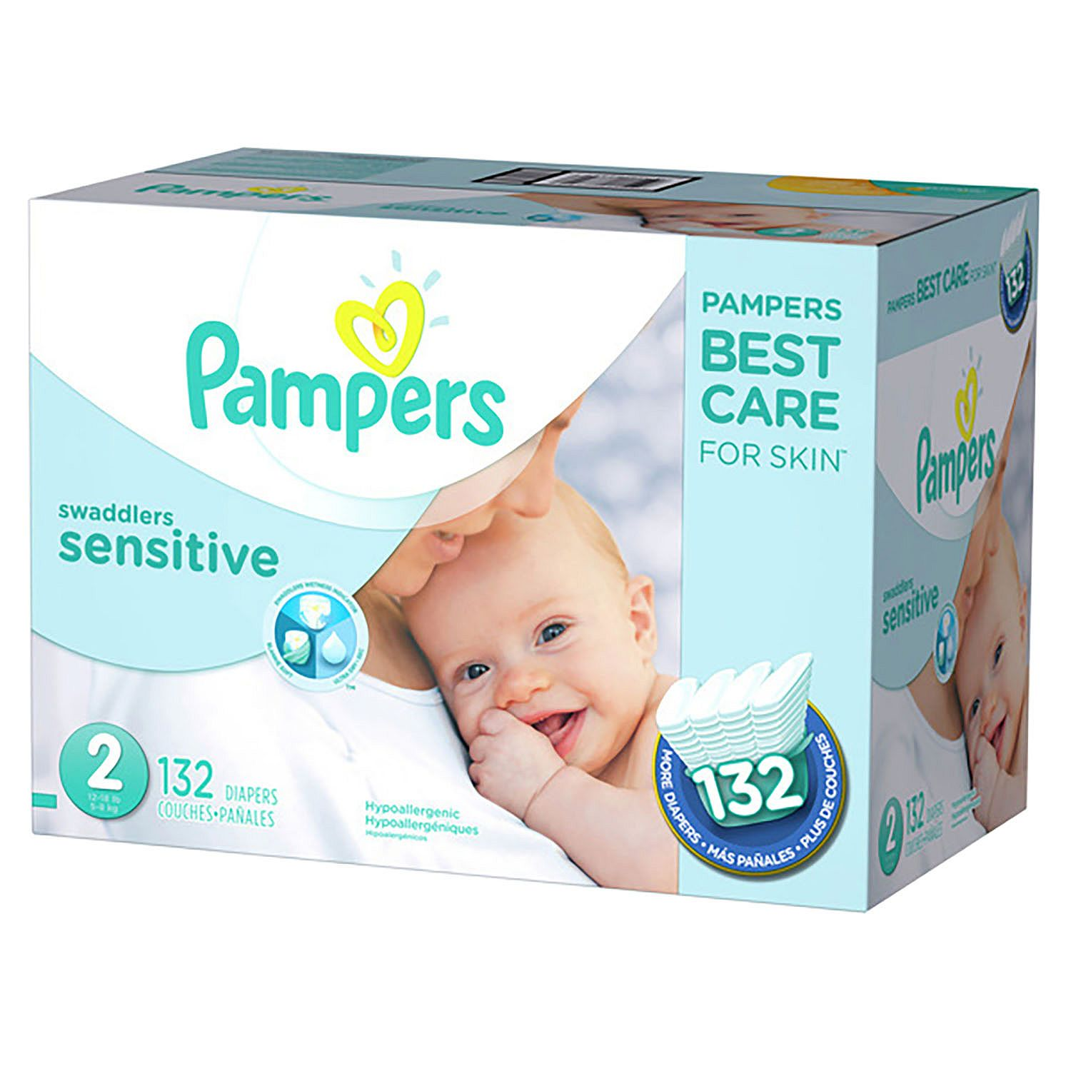 Pampers' Swaddlers Sensitive Diapers Size 2 - 132 ct. ( Weight 12- 18 lb.) - Bulk Qty, Free Shipping - Comfortable, Soft, No leaking & Good nite Diapers