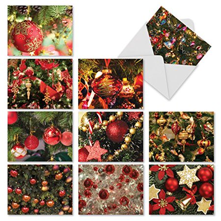 'M3266 RED BLISS' 10 Assorted All Occasions Note Cards Featuring Red-Colored Christmas Tree Ornaments with Envelopes by The Best Card
