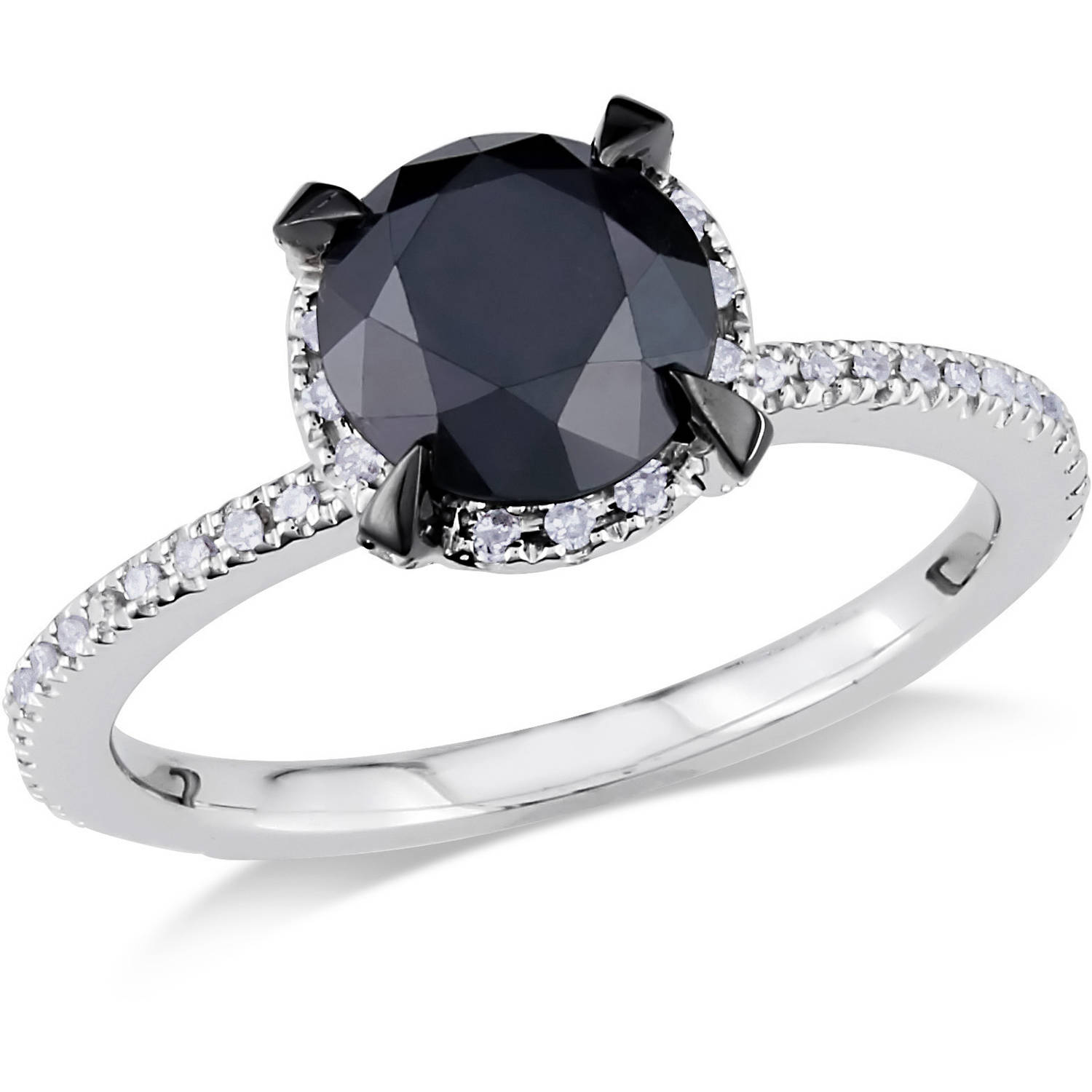 2 Carat T.W. Black and White Diamond 10kt White Gold Halo Engagement Ring