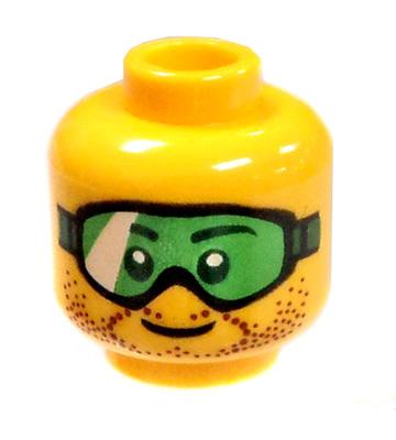 LEGO Green Lense Goggles And Stubble [Yellow Flash Male] [No Packaging]