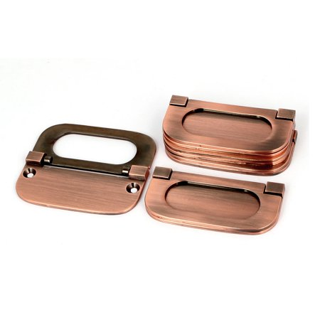 (Cupboard Cabinet Drawer Metal Flush Mount Door Pull Handle Ring Copper Tone 5pcs)
