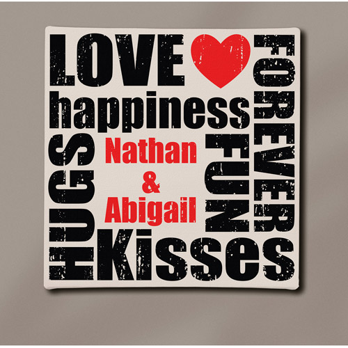 "Personalized ""Love, Happiness, Hugs & Kisses"" Canvas Art, 11"" x 11"""