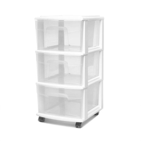 2 Drawer Design Materials (Homz 3 Drawer Medium Cart with Casters, Set of 2 )