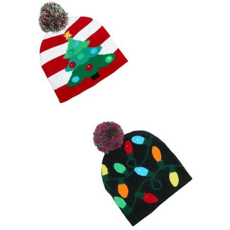 Flashing Christmas Hats (Flashing Lights Holiday Christmas Beanie Cap (Pack of)