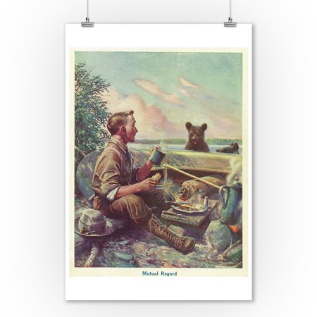 National Sportsman - Man Cooking Breakfast at Camp, Bear Altered by the Smell (9x12 Art Print, Wall Decor Travel Poster) 12 Piece Altered Art
