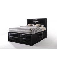 ACME Ireland Full Bed with Storage in Black Rubberwood, Multiple Sizes