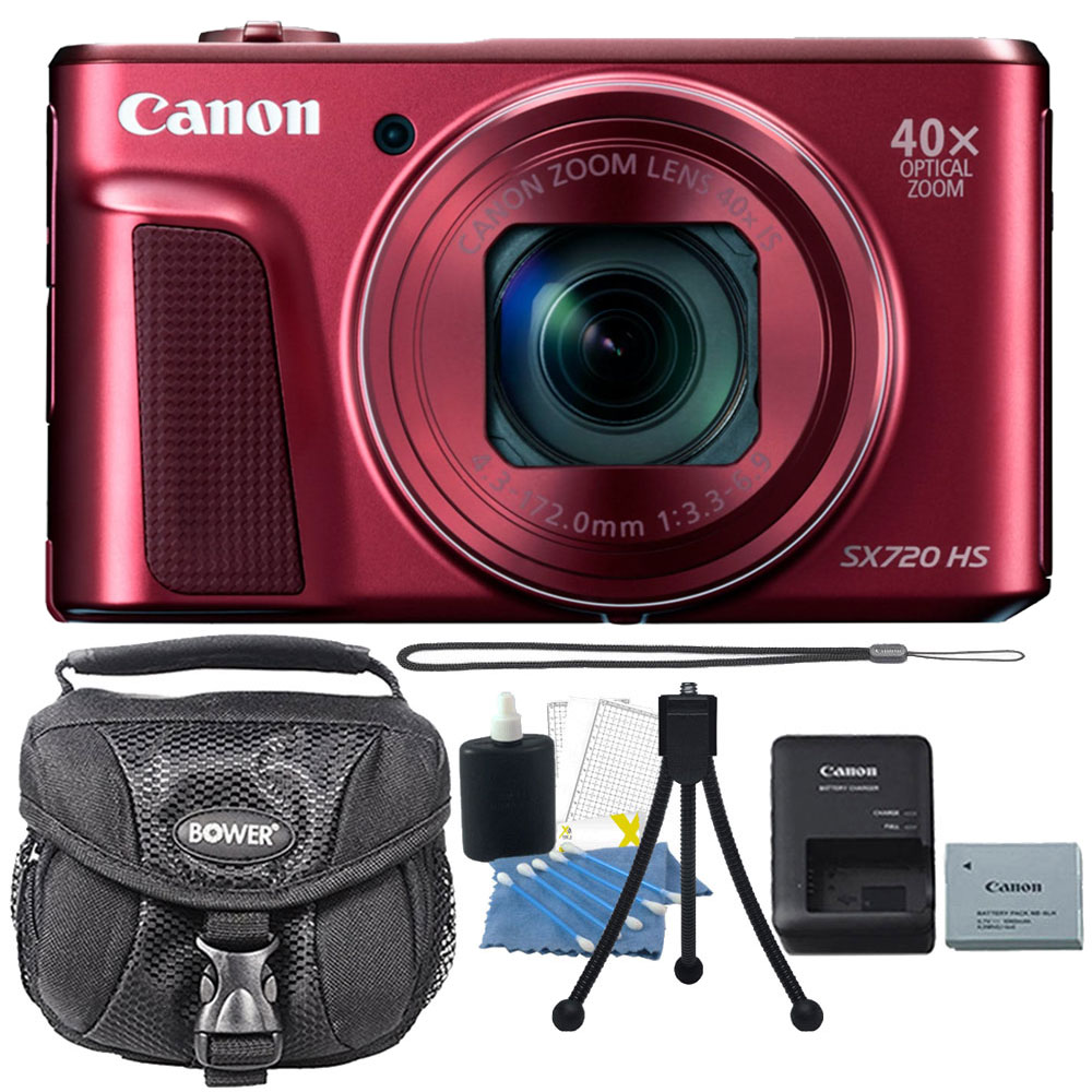 Canon PowerShot SX720 HS 20.3MP 40X Zoom Built-In Wifi / NFC Full HD 1080p Point and Shoot Digital Camera Red with Cleaning Kit and Tripod