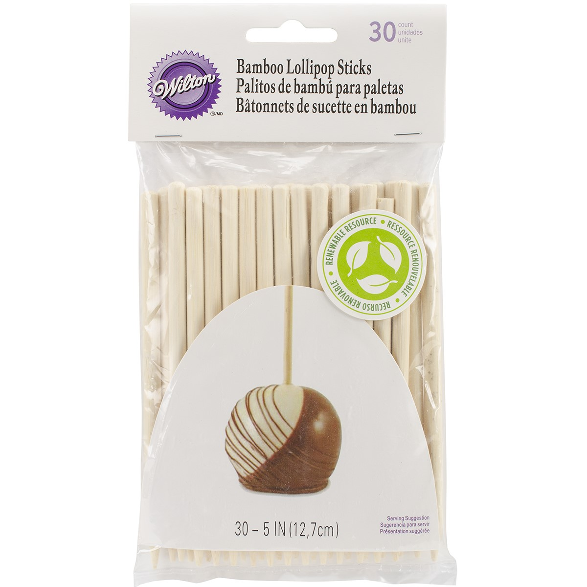 Wilton 5-Inch Bamboo Lollipop Treat Sticks, 30-Count