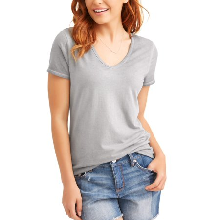 83b4cec43 Time and Tru - Women's Elevated Short Sleeve V-Neck T-Shirt - Walmart.com