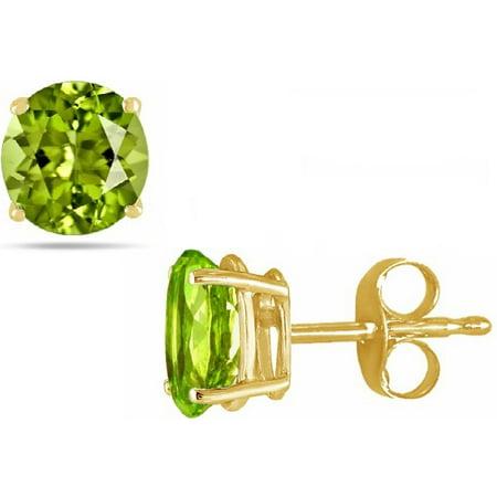 14K Gold 2.0Cttw Round Genuine Peridot Gemstone Stud Earrings