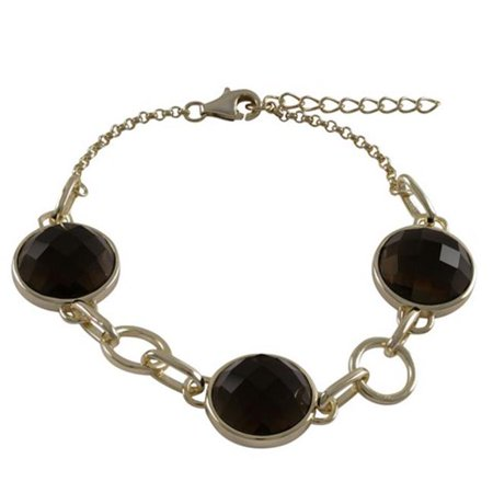 Smoky Quartz Semi Precious Stones with Gold Border 15 mm Round & Open Circles 10 mm Round Alternating with Gold Plated Sterling Silver Link Bracelet, 7.25 x 1